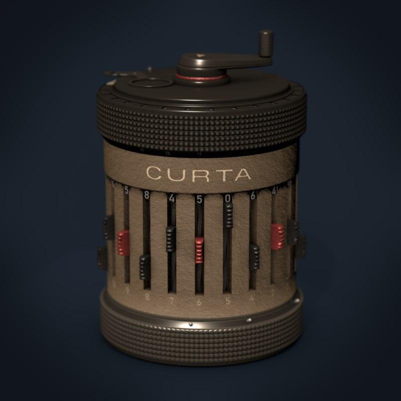 3D curta mechanical calculators model