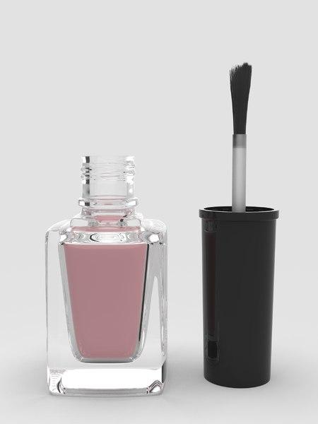 3D realistic nail polish brush