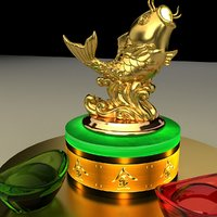 chinese gold ingot fish 3D model