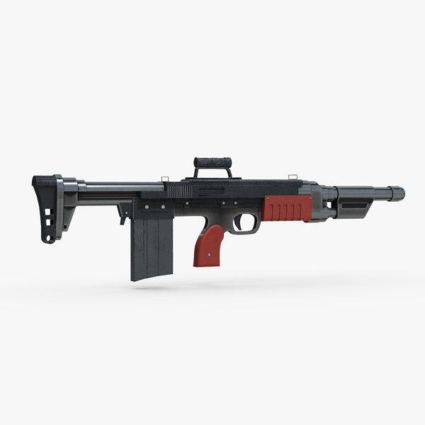 3D tactical assault rifle concept model