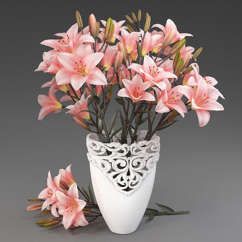 3D vase lilies