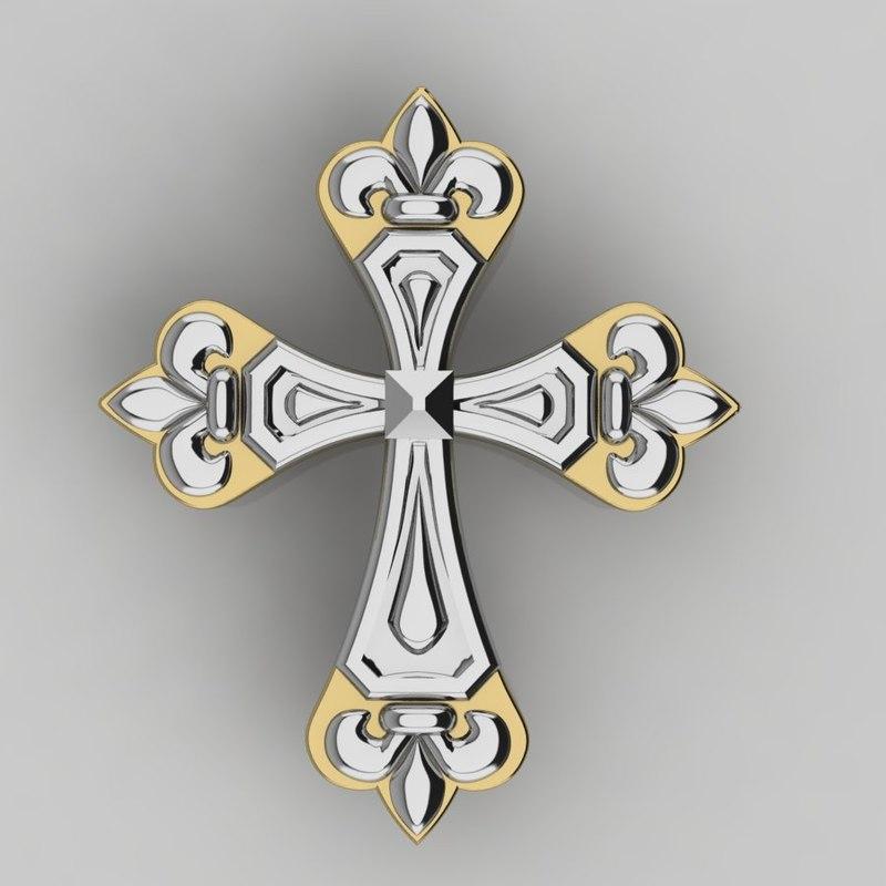 3D model cross pendent