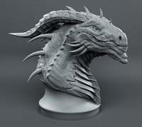 3D dragon head sketch print