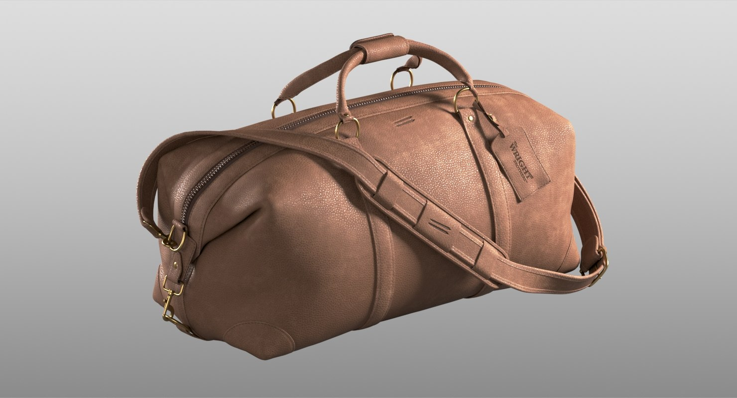 3D realistic leather bag wright brothers