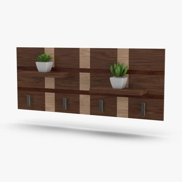 modern-coat-rack----shelves-with-flowers 3D model