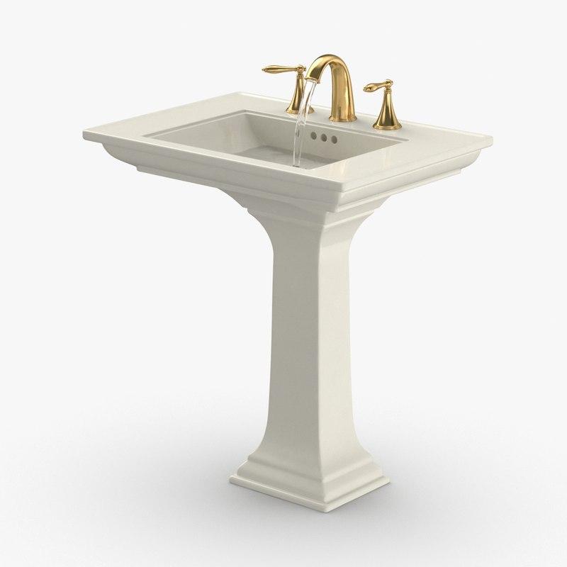 classical-bathroom-sink---water-running 3D model