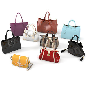 realistic women bags set 3D model