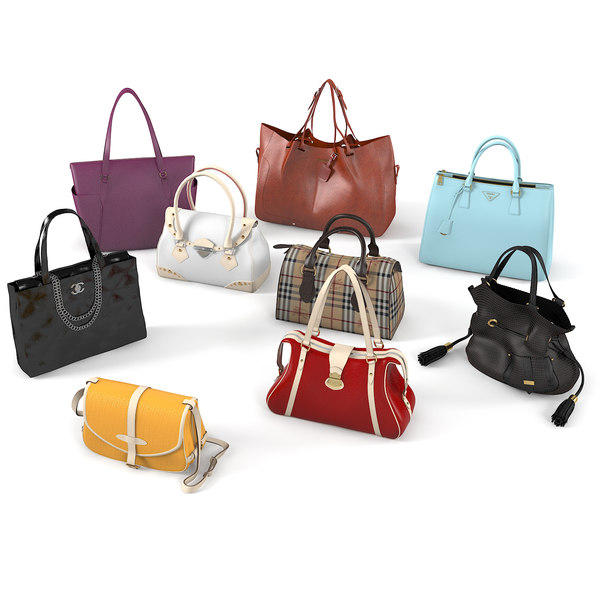 realistic women bags set 3D model