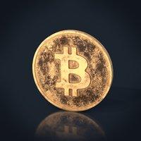 3D bitcoin coin worn model