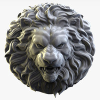 Lion head Sculpture bas-relief for cnc