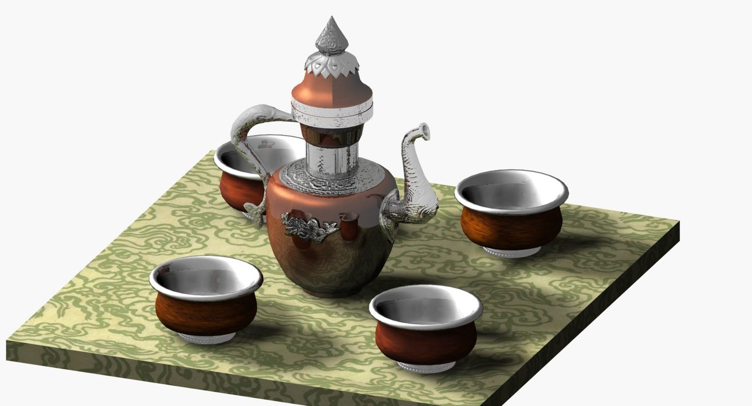 tibetan cups 3D model