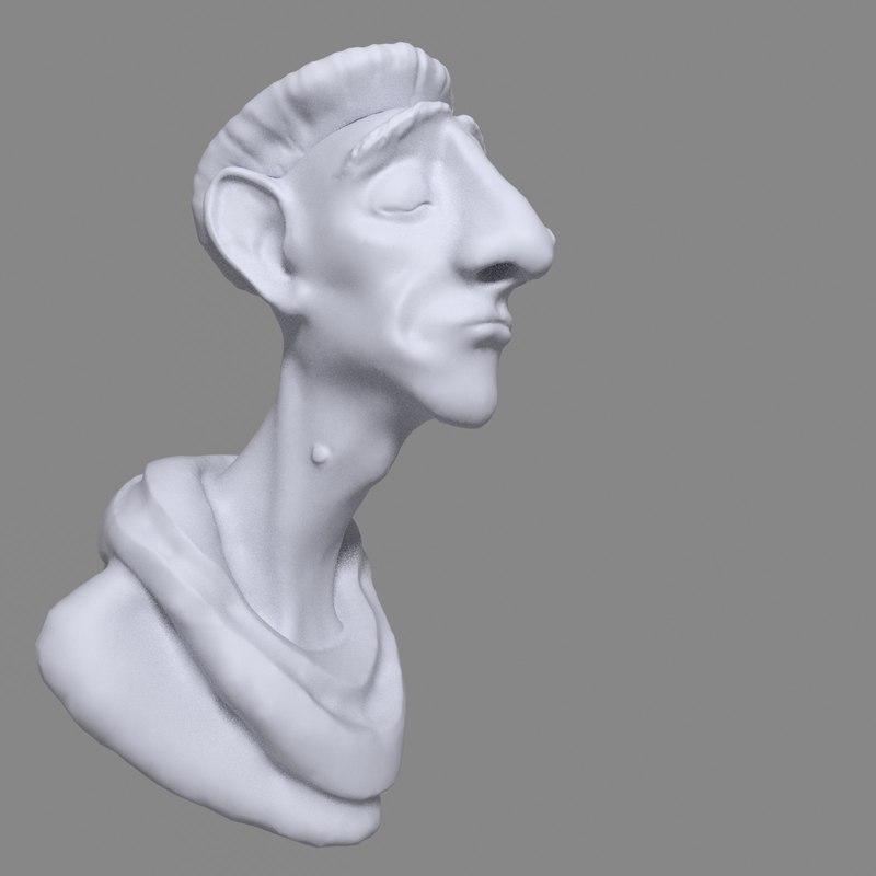 bust man cartoon 3D model