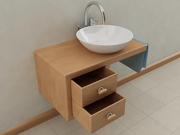 3D wallmounted bathroom sink