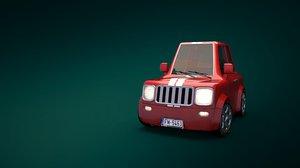 3D stylized cartoon car