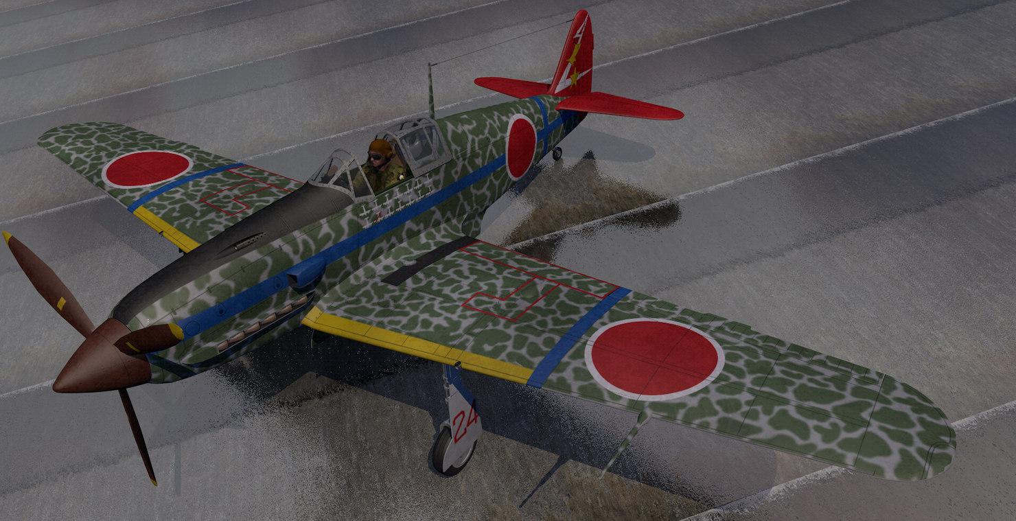 3D plane kawasaki ki-61 hien model