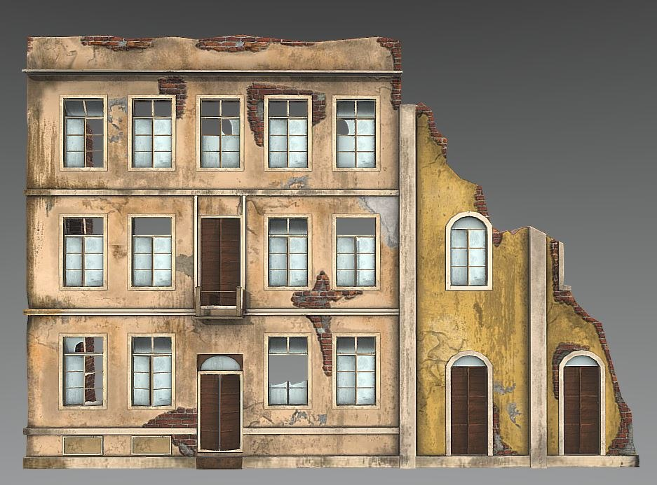 abandoned building facade french model