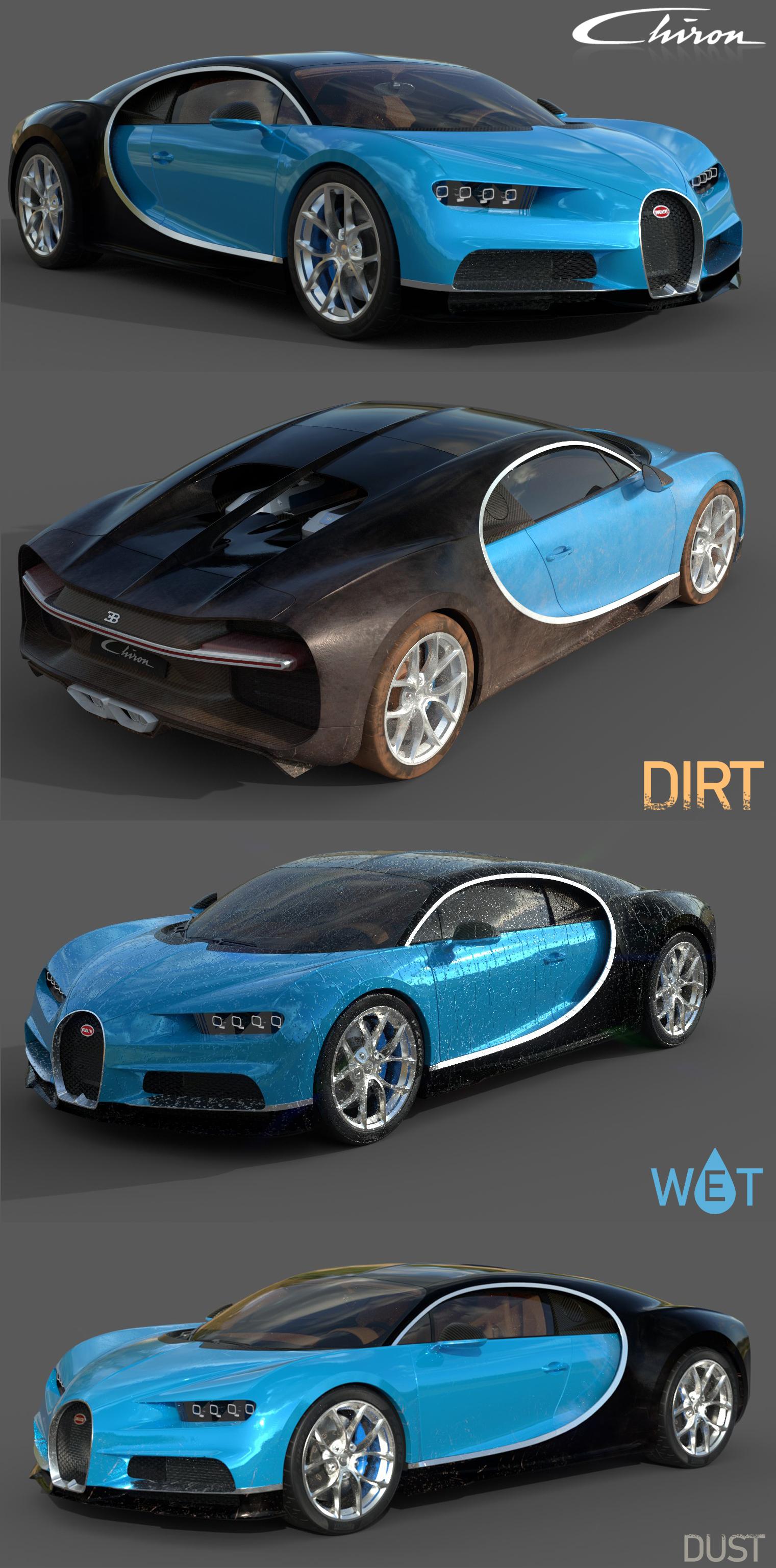 3D midpoly bugatti chiron model