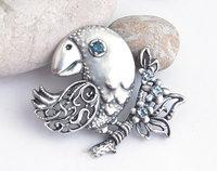 Bird brooch, printable jewelry model