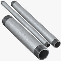 3D galvanized steel pipes 15 model