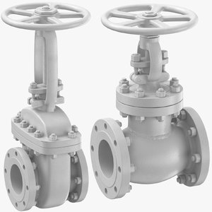 3D industrial pipe valves