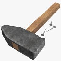 3D old hammer nail model