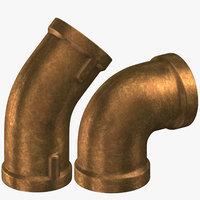 3D vintage brass pipes 45