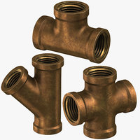 3D model vintage brass pipes 4