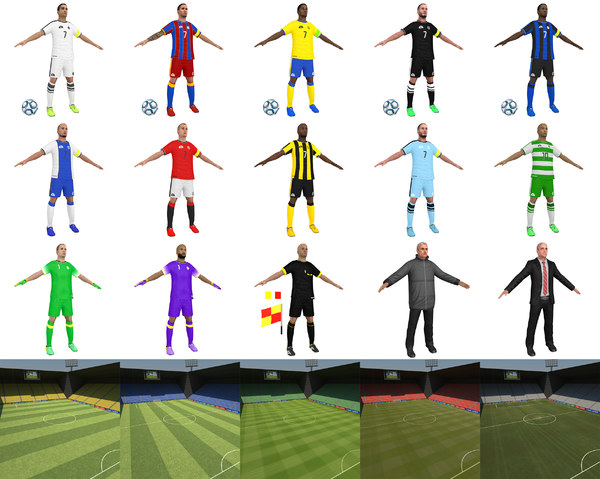 3D model soccer games pack stadium