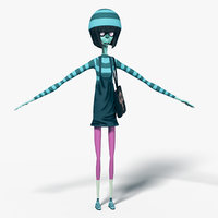 cartoon female character rigged 3D model