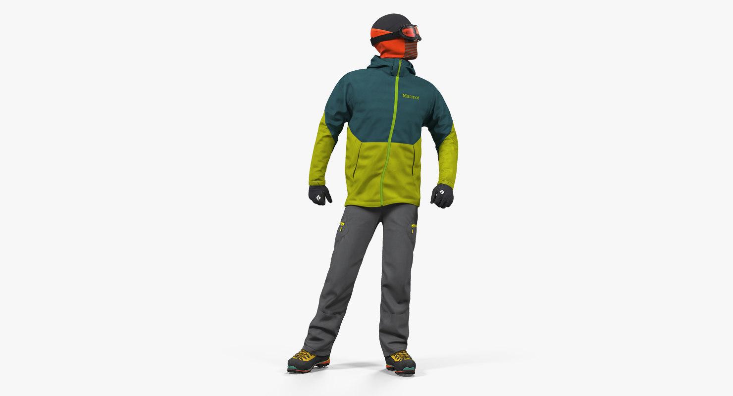 rock climber winter hiking 3D
