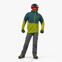 rock climber winter hiking 3D