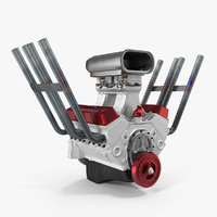 hot rod v8 engine 3D model