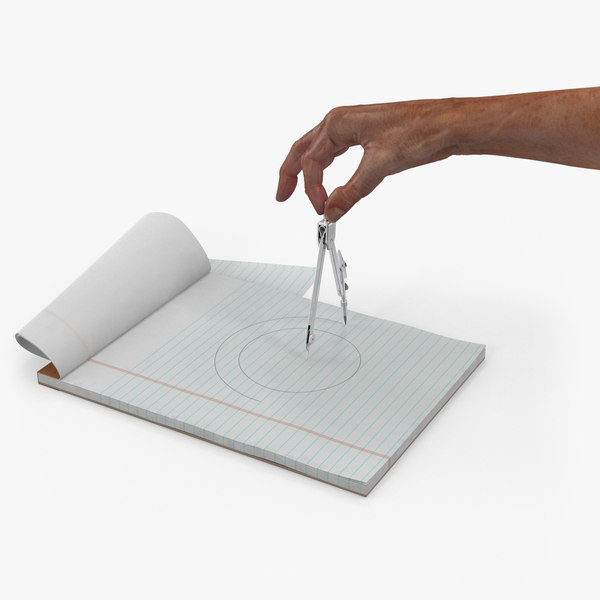 compass circle drawing hand 3D model