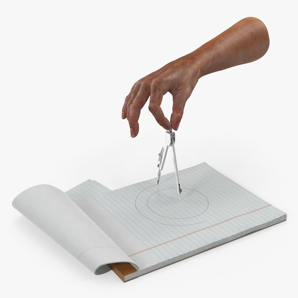 3D model compass circle drawing hand