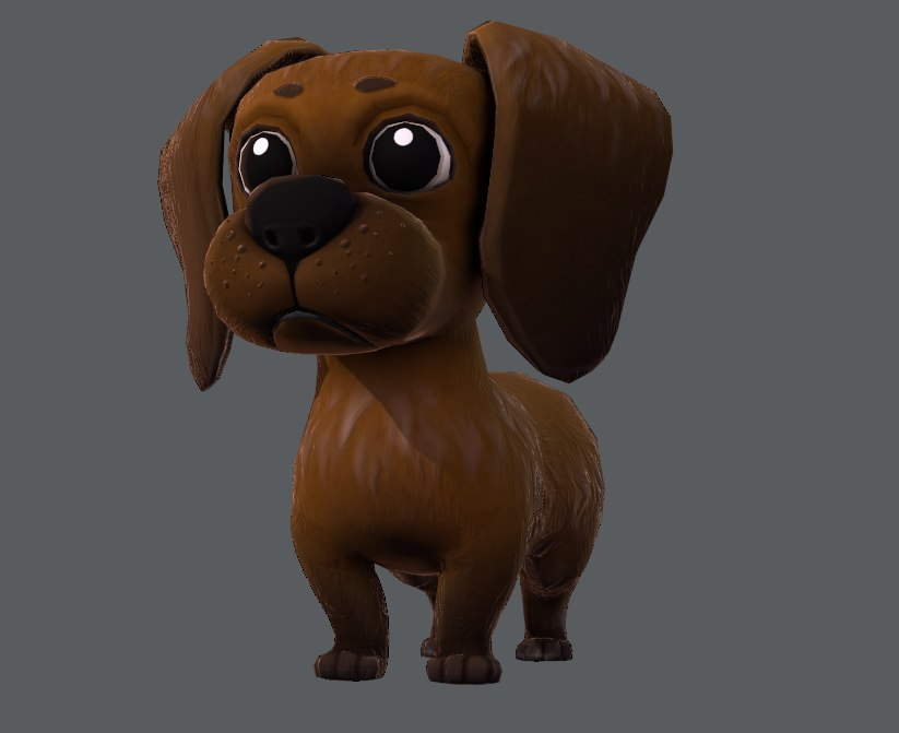 base cartoon dog 3D model