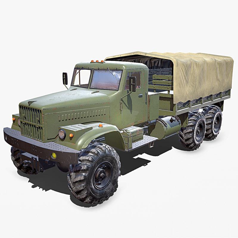 kraz 255 flatbed 3D model