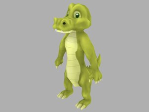 croc cartoon 3D model