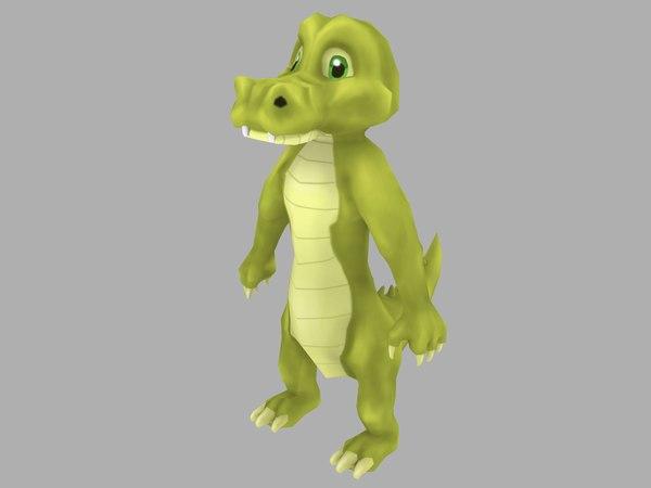 croc cartoon 3D model
