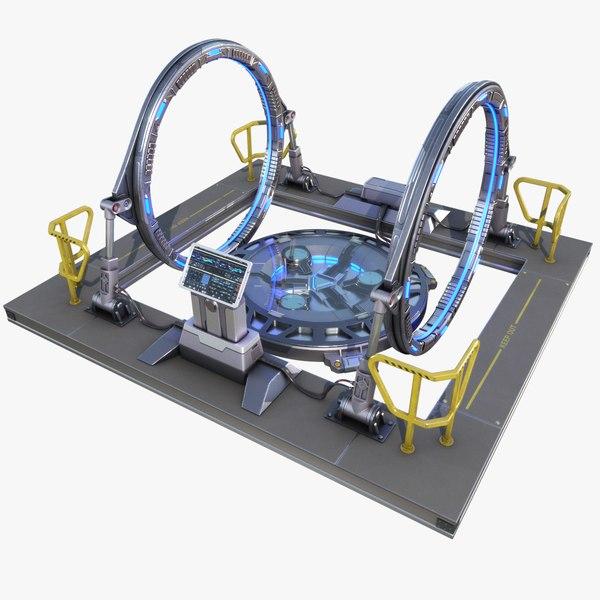 3D sci-fi teleport model