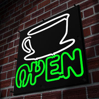 3D model neon coffee sign