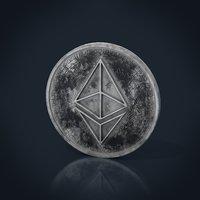 3D ethereum coin worn model