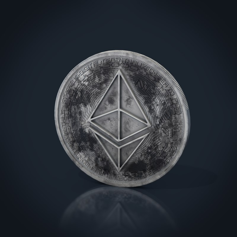 3D ethereum coin worn model