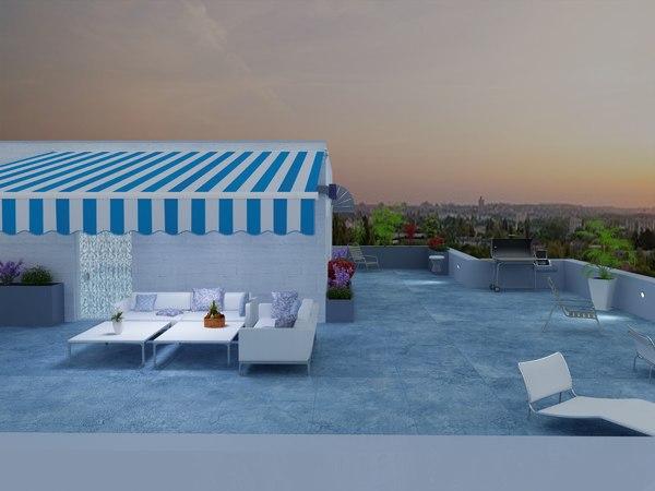 3D rooftop terrace model