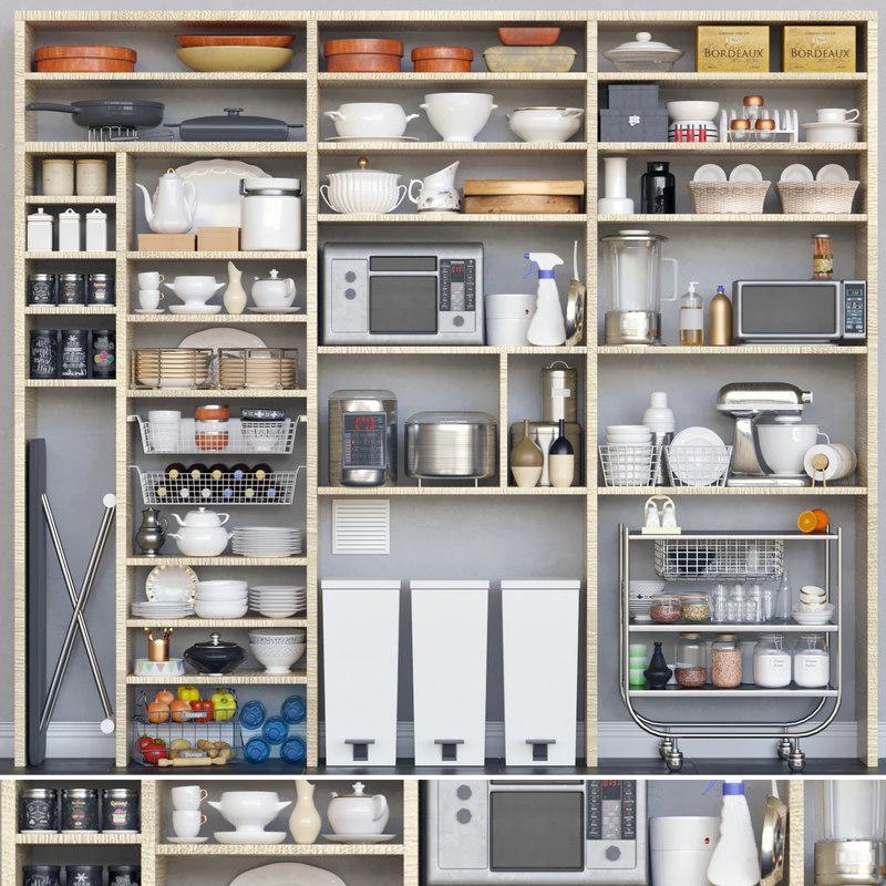 3D set kitchen restaurant