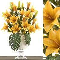 bouquet yellow lilies 3D model