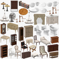 classical furniture table tableware 3D model