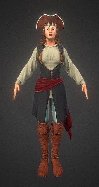 3D pirate woman