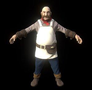3D model medieval chef