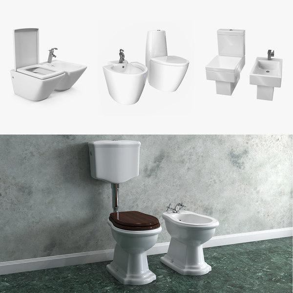 toilets bidets 3D model