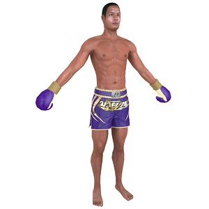 3D model muay thai fighter